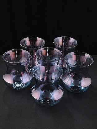 Blue Hookah Glasses (Set of 6) (L:3.5in, W:3.5in, H:3.9in)