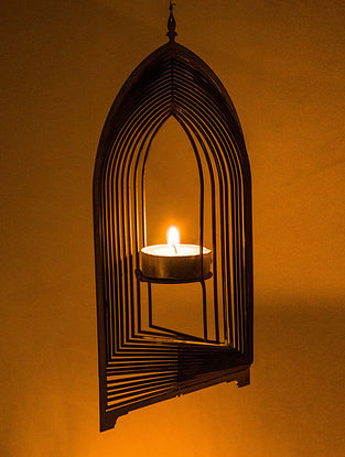 Rumi Handcrafted Stainless Steel Tea Light Holder (L:8.2in, W:4.7in, H:0.02in)