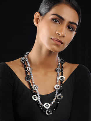 Grey-Black Agate and Mother of Pearls Beaded Necklace