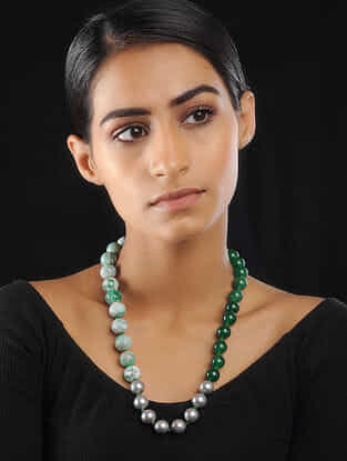 Green-Silver Onyx and Agate Pearl Beaded Necklace