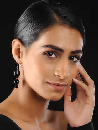 Black Onyx Beaded Earrings