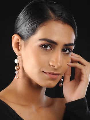 White-Gold Pearl Beaded Earrings
