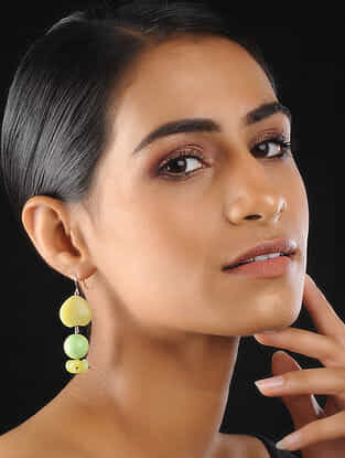 Yellow-Green Agate Beaded Earrings