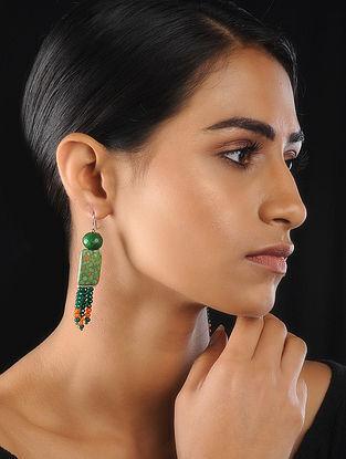 Green-Orange Agate Beaded Earrings