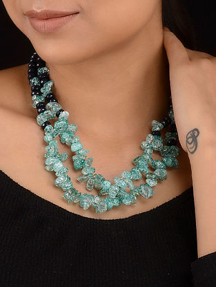 Turquoise Green-Grey Quartz and Agate Bati Beaded Necklace