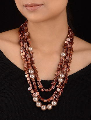 Rust Brown Mother of Pearl Beaded Necklace