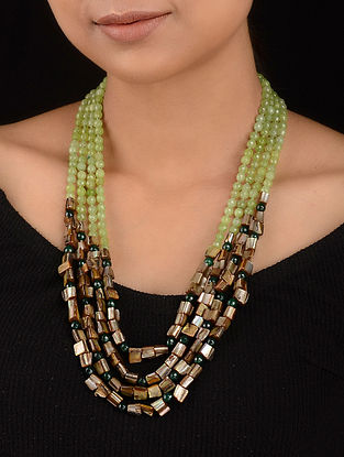 Green-Grey Agate and Mother of Pearl Beaded Necklace