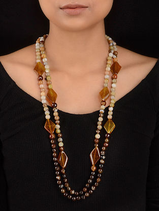 Yellow-Brown Agate Beaded Necklace