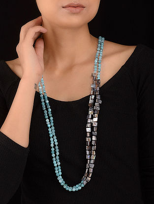 Blue-Grey Mother of Pearl and Agate Beaded Necklace