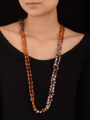Brown Mother of Pearl and Carnelian Beaded Necklace