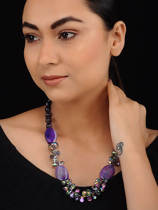 Purple Agate Onyx and Crystal Beaded Necklace