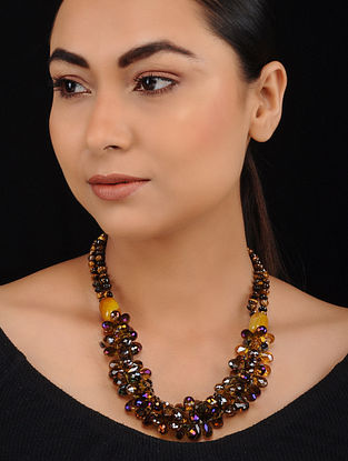 Yellow Onyx Tiger Eye and Crystal Beaded Necklace