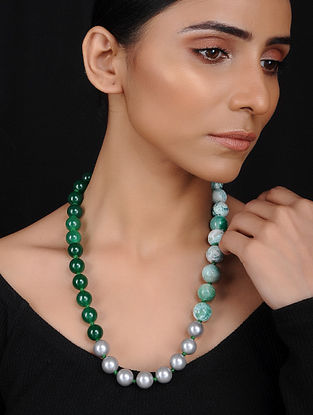 Green Onyx and Agate Beaded Necklace