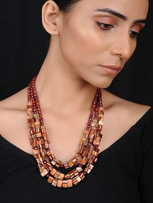 Rust Agate and Mother of Pearl Beaded Necklace