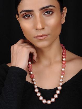 Cherry Quartz Swarovski Pearl Beaded Necklace