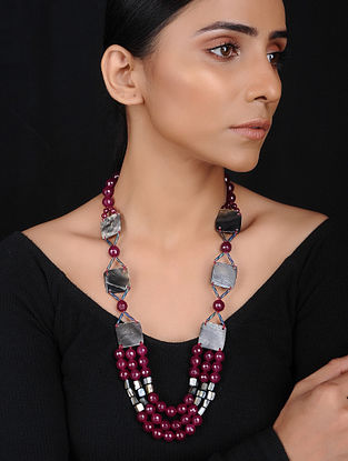 Maroon Brown Agate and Mother of Pearl Beaded Necklace