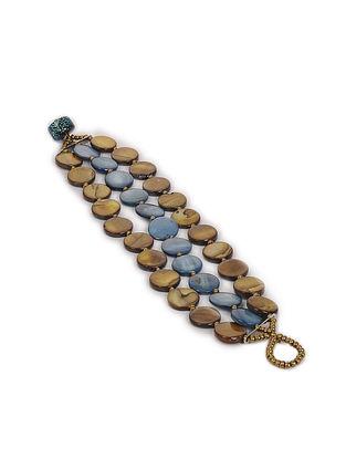 Blue Brown Mother of Pearl Beaded Bracelet