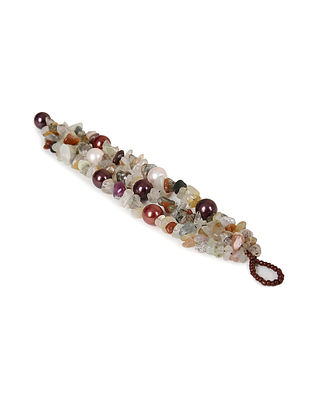 Multicolored Agate and Pearl Beaded Bracelet