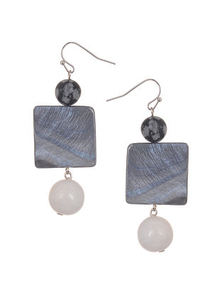 Mother of Pearl Earrings with Howlite and Obsidian