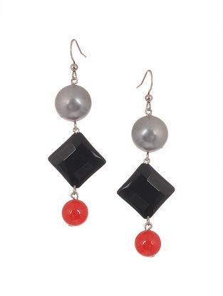 Red Pearl and Black Onyx Beaded Earrings
