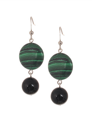 Black Onyx and Malachite Beaded Earrings
