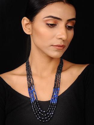 Blue Sunstone, Lapis Lazuli and Crystal Beaded Necklace