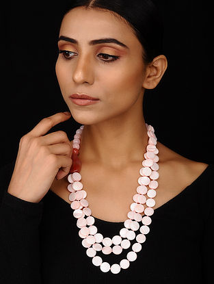 Pink Mother of Pearl, Rose Quartz and Agate Beaded Necklace
