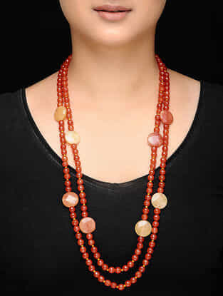 Orange Agate Beaded Necklace