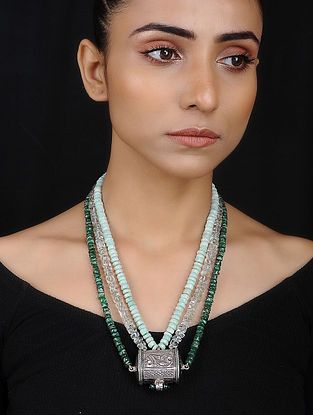 Silver Necklace with Amazonite and Onyx