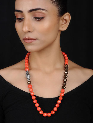 Silver Necklace with Orange Onyx