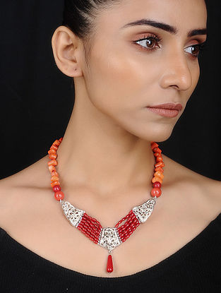 Silver Necklace with Red Agate and Onyx