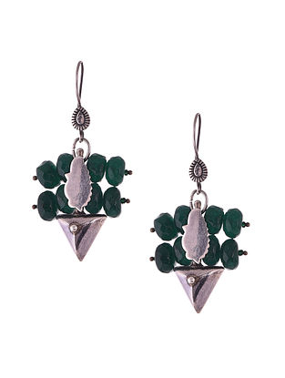 Silver Earrings with Green Agate