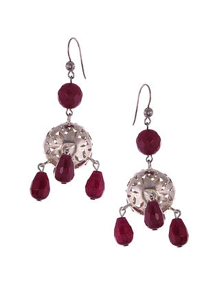 Silver Earrings with Maroon Agate