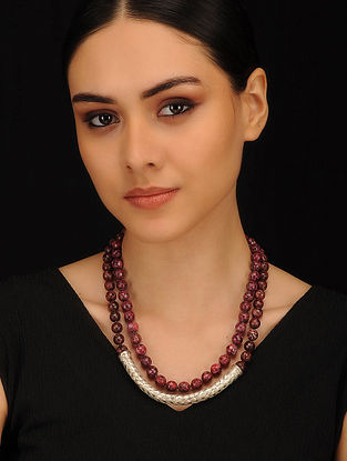 Maroon and Black Agate Beaded Silver Necklace