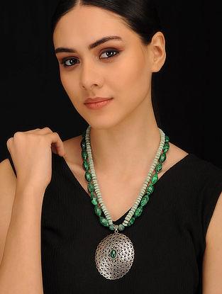 Malachite and Amazonite Beaded Silver Necklace