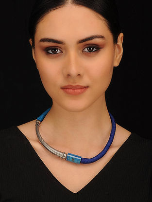 Blue Onyx Beaded Silver Thread Necklace