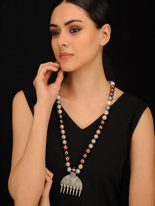 Multicolored Pearl Beaded Silver Necklace