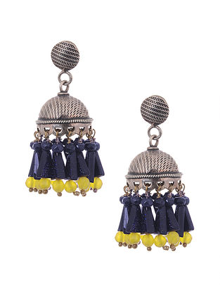 Blue Sunstone and Yellow Agate Beaded Silver Jhumki Earrings