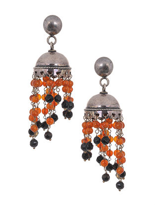 Carnelian and Black Onyx Beaded Silver Jhumki Earrings