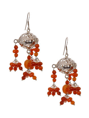 Carnelian and Pearl Beaded Silver Earrings