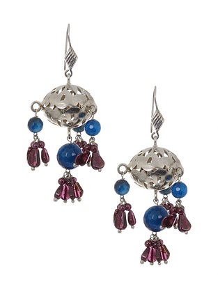 Garnet and Blue Agate Beaded Silver Earrings