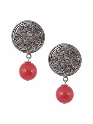 Tribal Silver Earrings with Red Agate