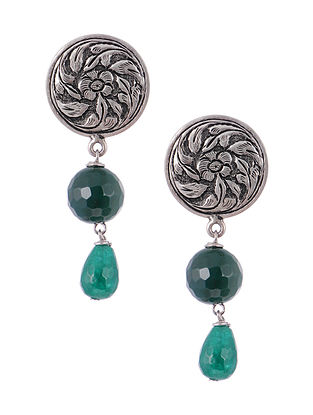 Tribal Silver Earrings with Green Agate