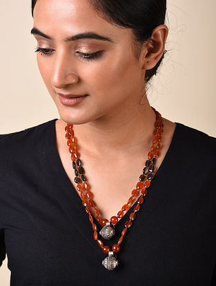 Rust Agate and Smokey Topaz Beaded Silver Necklace