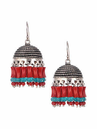 Tribal Silver Jhumki Earrings with Red Agate and Turquoise