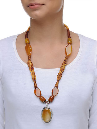 Agate and Citrine Silver Thread Necklace