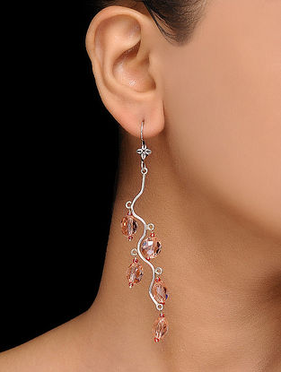 Peach Crystal Silver Earrings