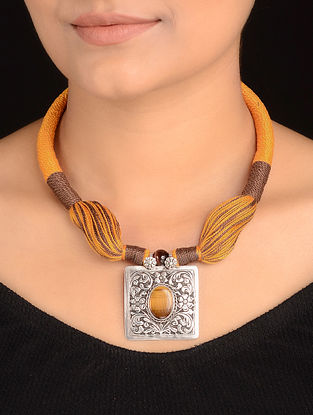 Tigers Eye Silver Thread Necklace with Chitari Work Pendant