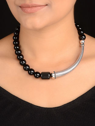 Black Onyx and Agate Silver Necklace
