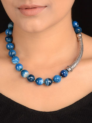Blue Banded Agate Beaded Silver Necklace